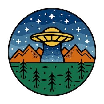 Ufo monoline outdoor badge-ontwerp met berg