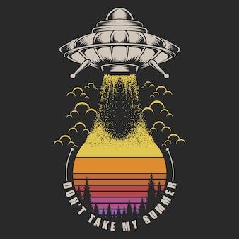 Ufo neem het op tegen zonsondergang