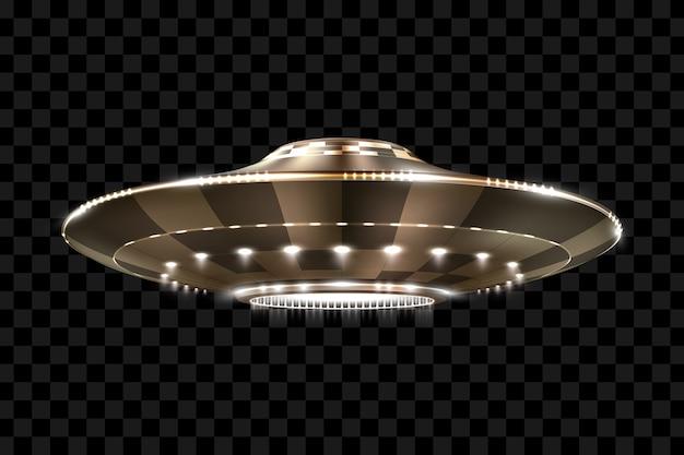 Ufo. ongeïdentificeerd vliegend object. futuristische ufo op een transparante achtergrond, illustratie.