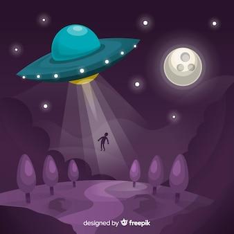 Ufo-ontvoeringsconcept met plat ontwerp