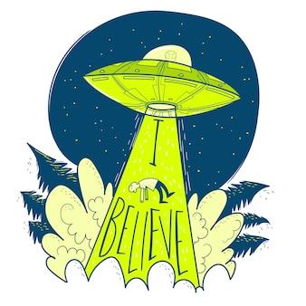 Ufo ontvoert de mens. ruimteschip ufo lichtstraal in de nachtelijke hemel.