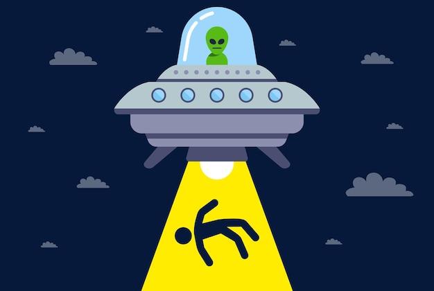 Ufo ontvoert 's nachts een persoon voor experimenten. kosmische straal. platte vectorillustratie.