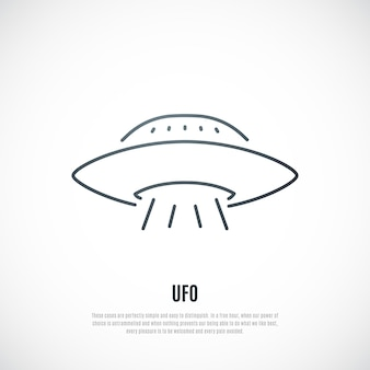 Ufo-pictogram in lijnstijl alien ruimteschip