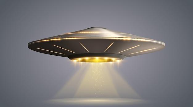Ufo-ruimteschip met lichtstraal die op transparante vectorillustratie wordt geïsoleerd als achtergrond