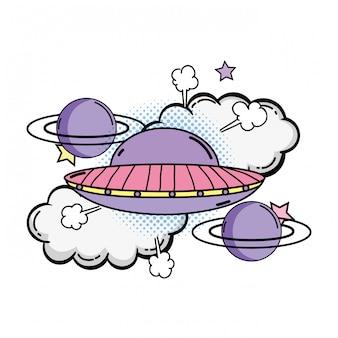 Ufo vliegen met planeten pop-art stijl