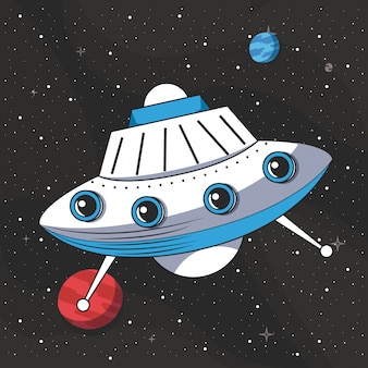 Ufo vliegt in de ruimte