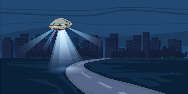 Ufo vliegt over nachtstad, metropool, huizen, wolkenkrabbers, duur Premium Vector