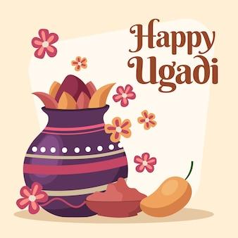 Ugadi-evenement met hand getrokken ontwerp