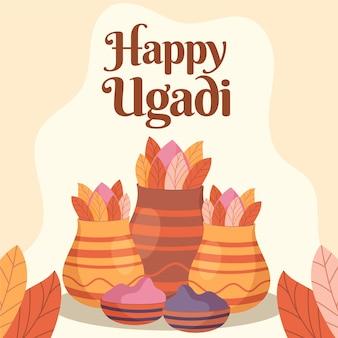 Ugadi-evenement met hand getrokken stijl