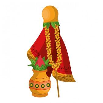 Ugadi-festival met potcartoons