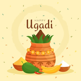 Ugadi met plant in pot