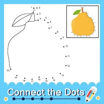 Ugli fruit kinderpuzzel verbind de stippen werkblad voor kinderen die de nummers 1 tot en met 20 tellen