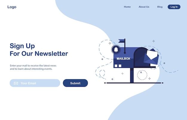 Ui bestemmingspagina-ontwerp van e-mailmarketing voor abonnement op nieuwsbrief