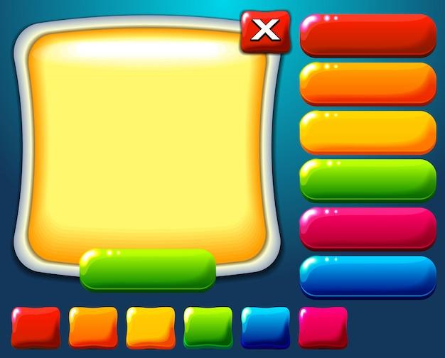 Ui design display en kleurrijke glanzende knoppen