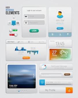 Ui-elementen voor web en mobiel. pictogrammen en knoppen. modern design.
