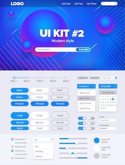 Ui kit voor website ui kit voor website sjabloon knoppen gui website