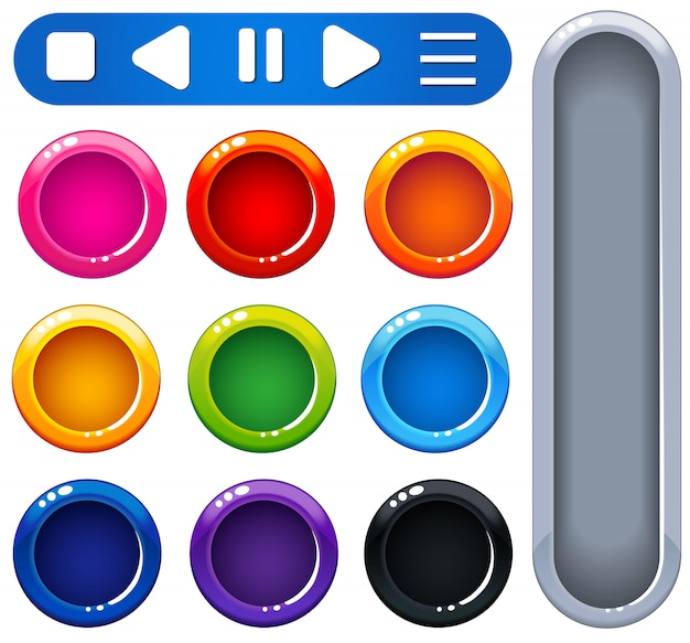 Ui ontwerp glanzende kleurrijke knoppen