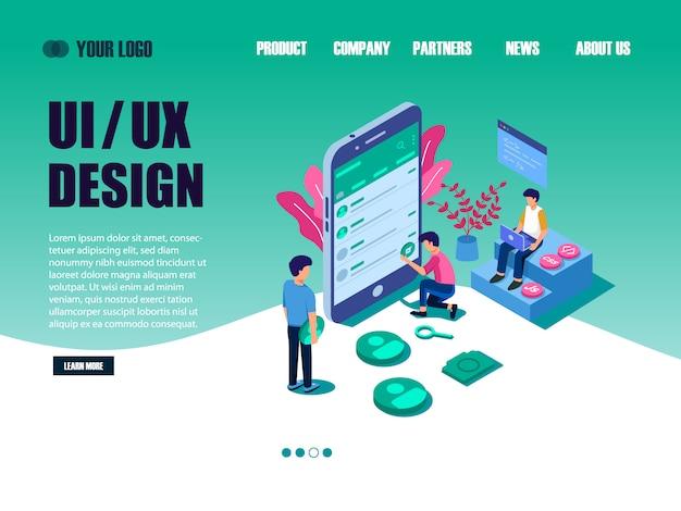 Ui-ontwerpconcept met karakter voor ontwerper. ui-ontwerp bestemmingspagina