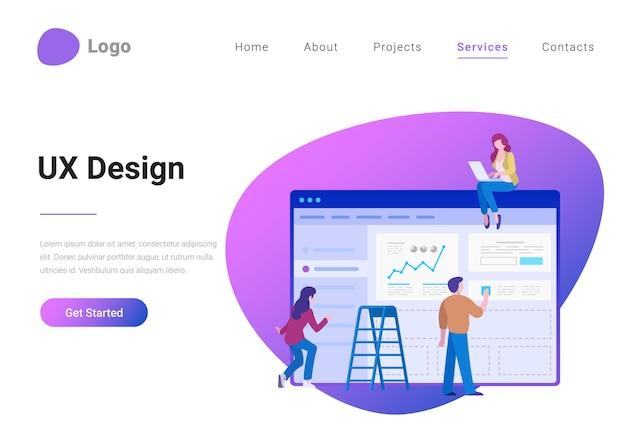Ui ux design mensen teamwerk vlakke stijl landingspagina banner vectorillustratie
