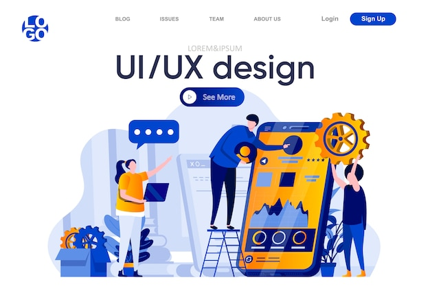Ui ux-ontwerp platte bestemmingspagina. het team van ontwikkelaars creëert samen interface van illustratie van mobiele applicatie. responsive design en bruikbaarheid webpagina samenstelling met personages.
