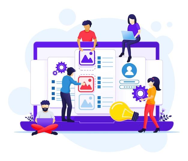 Ui ux-ontwerpconcept, mensen die een applicatie, inhoud en tekst plaatsen illustratie