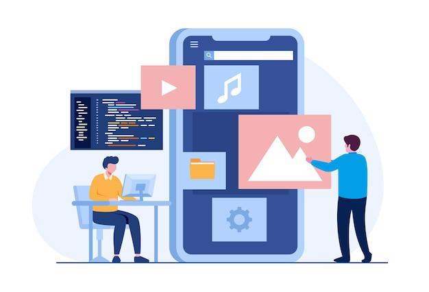 Ui ux-ontwerper en programmeur met smartphone, applicatieontwikkelaar, platte illustratievector