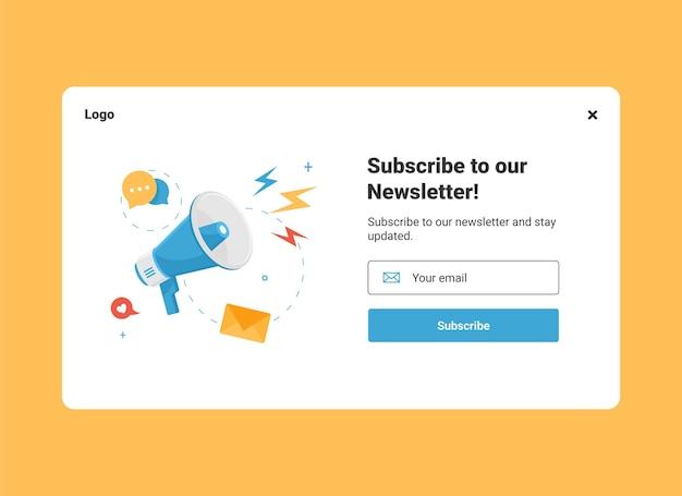 Ui website-ontwerpsjabloon van e-mailmarketing voor abonnement op nieuwsbrief