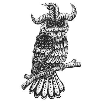 Uil decoratie vintage vectorillustratie