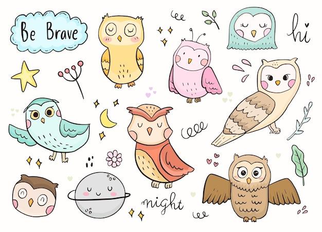 Uil doodle sticker omtrek tekenen.
