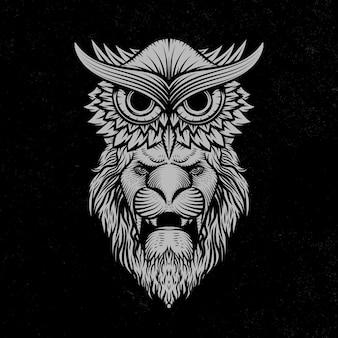 Uil en leeuw illustratie