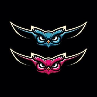 Uil gaming mascot logo illustratie