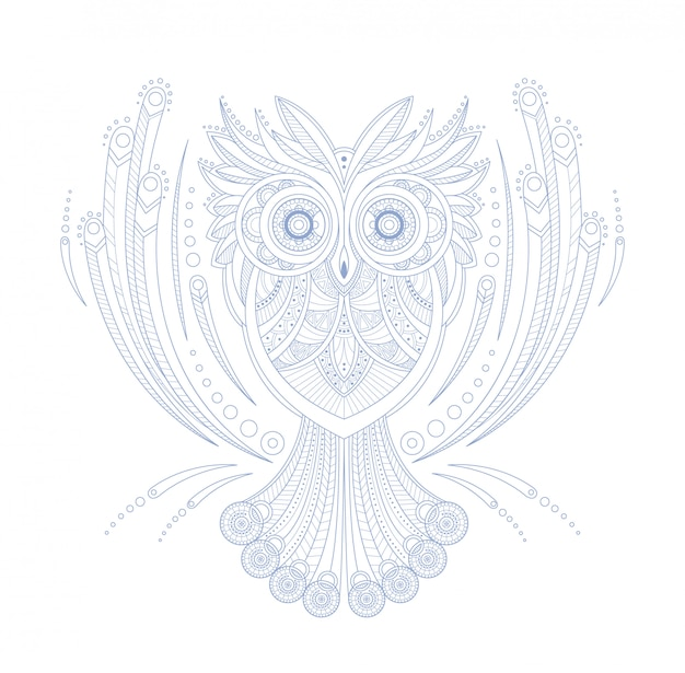 Uil gestileerde doodle zen kleurboekpagina