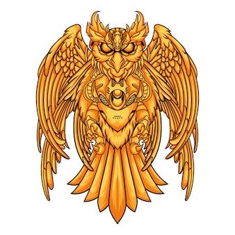 Uil gouden mecha geïsoleerd op wit