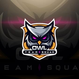 Uil hoofd gaming logo esport