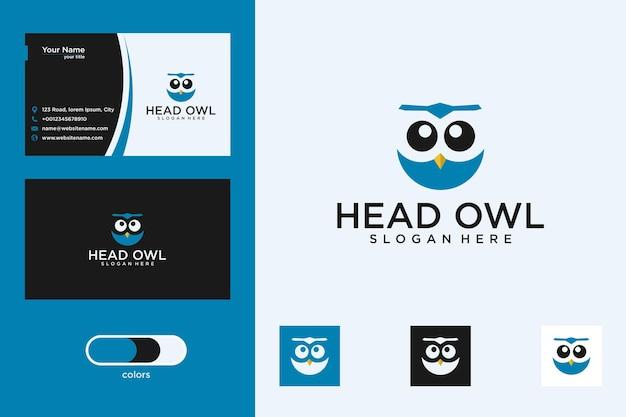 Uil hoofd logo ontwerp en visitekaartje