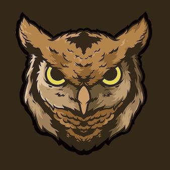 Uil hoofd logo vector