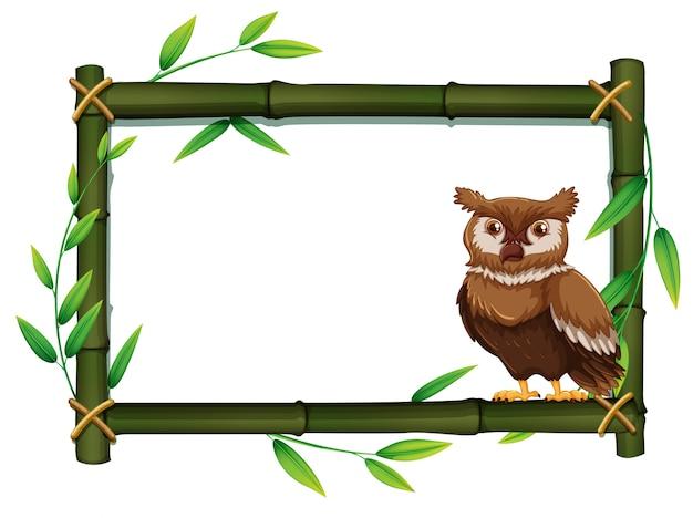Uil in een bamboe frame
