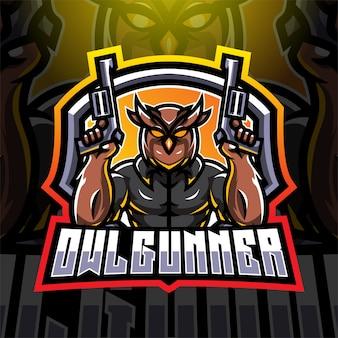 Uil kanonniers esport mascotte logo ontwerp