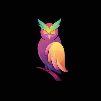 Uil kleurovergang kleurrijke moderne vogel logo illustratie