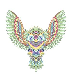 Uil kleurrijk mandala-ontwerp