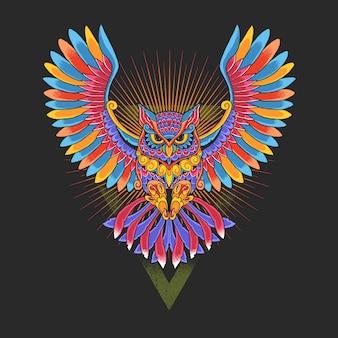 Uil kleurrijke decoratieve afbeelding
