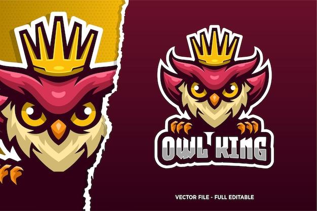 Uil koning e-sport game logo sjabloon