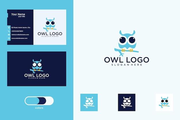Uil logo ontwerp en visitekaartje