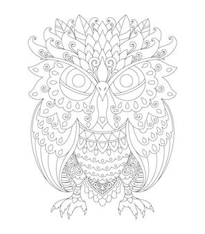 Uil mandala-ontwerp voor het afdrukken van kleurplaten