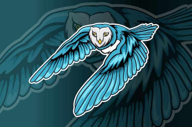 Uil mascotte esport logo ontwerp