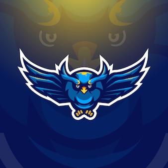 Uil mascotte logo ontwerp vectorillustratie voor sport, gaming, esport team