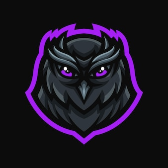 Uil mascotte logo voor gaming twitch streamer gaming esports youtube facebook