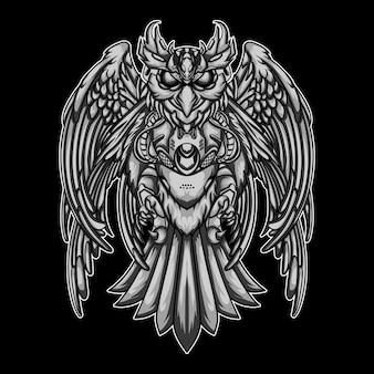 Uil mecha zwart-wit geïsoleerd op zwart