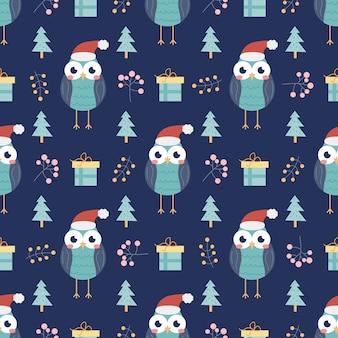 Uil met geschenken en kerstbomen en andere decoratieve elementen vector naadloos patroon