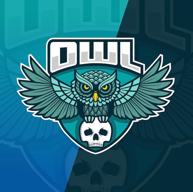 Uil met schedel mascotte esport logo sjabloon